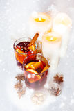 Christmas festive drink, mulled wine with spices Stock Photo