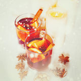 Christmas festive drink, mulled wine with spices Royalty Free Stock Images