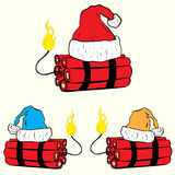 Christmas festive dynamite. Conceptual illustration with the wick on fire dynamite in the Christmas cap Stock Photos
