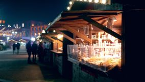 Christmas festive fair in town square stock footage