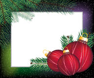 Christmas  festive frame. Spruce branches and Christmas decorations. Abstract festive frame Royalty Free Stock Photos