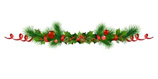 Christmas festive frame. Christmas festive poinsettia and christmas tree decor. Holiday image for design banner, ticket, invitation or card, leaflet and so on Stock Photo