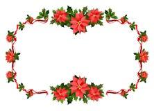 Christmas festive frame. Christmas festive poinsettia frame. Holiday image for design banner, ticket, invitation or card, leaflet and so on Stock Image