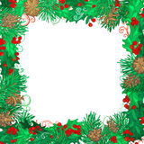 Christmas festive frame on white background. Mistletoes, pine branches and cones. Hand-drawn vector illustration. There is copy space for your text on white Stock Photo