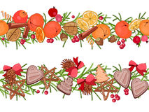 Christmas festive garlands with fruits, cookies, berries  on white Stock Photography