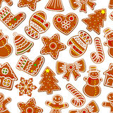 Christmas festive ginger cookie seamless pattern. Of gingerbread man, house and xmas tree, candy cane, snowman and bell, star, snowflake and bow, stocking sock Royalty Free Stock Photography