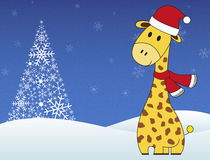 Christmas festive giraffe on winter snowing background Stock Photos