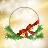 Christmas festive golden background with bow and fir. Vector Stock Photo