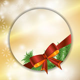 Christmas festive golden background with bow and fir. Vector Royalty Free Stock Images