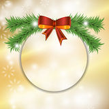 Christmas festive golden background with bow and fir. Vector Stock Photos