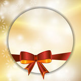Christmas festive golden background with bow. Vector Stock Photography