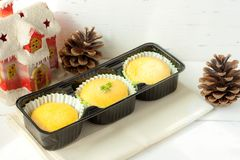 Christmas festive homemade cupcakes on the table with various decorations. Festive food stock images