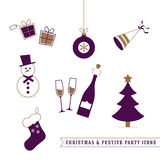 Christmas and Festive Icons Royalty Free Stock Photography