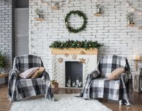 Christmas festive interior in grey and white colors Royalty Free Stock Images