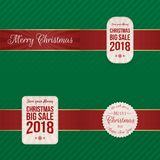 Christmas festive Labels with red Ribbons. Collection. Vector Illustration Royalty Free Stock Image