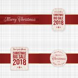 Christmas festive Labels with red Ribbons. Set. Vector Illustration Royalty Free Stock Images