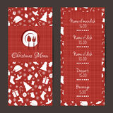 Christmas festive menu design. Christmas festive menu cards design. Vector template Stock Photography