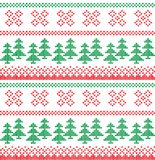 Christmas Knitted Pattern with Reindeer. Christmas festive Norwegian knitted pattern with deer and Christmas trees Royalty Free Stock Photo