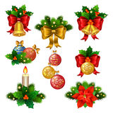 Christmas festive ornaments icons set Stock Photo
