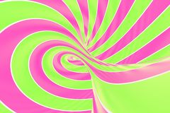 Christmas festive pink and green spiral tunnel. Striped twisted lollipop optical illusion. Abstract background. 3D render. Sweet candy caramel wallpaper royalty free illustration
