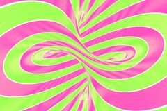 Christmas festive pink and green spiral tunnel. Striped twisted lollipop optical illusion. Abstract background. 3D render. Sweet candy caramel wallpaper stock illustration