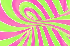 Christmas festive pink and green spiral tunnel. Striped twisted lollipop optical illusion. Abstract background. 3D render. Sweet candy caramel wallpaper vector illustration