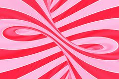 Christmas festive pink and red spiral tunnel. Striped twisted lollipop optical illusion. Abstract background. 3D render. Sweet candy caramel wallpaper vector illustration