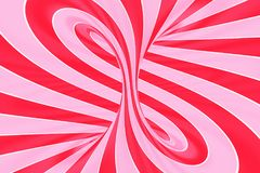 Christmas festive pink and red spiral tunnel. Striped twisted lollipop optical illusion. Abstract background. 3D render. Sweet candy caramel wallpaper stock illustration