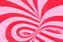 Christmas festive pink and red spiral tunnel. Striped twisted lollipop optical illusion. Abstract background. 3D render. Sweet candy caramel wallpaper royalty free illustration