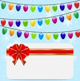 Christmas festive postal and garlands. Vector  illustration Royalty Free Stock Images