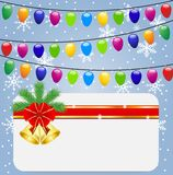 Christmas festive postal and garlands Royalty Free Stock Photo