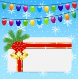 Christmas festive postal and garlands. Vector  illustration Royalty Free Stock Image
