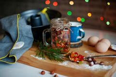Christmas festive pound cake decorated with fruits and berries stock photography