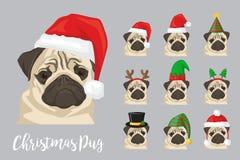 Christmas festive pug dog wearing celebration hats. Christmas festive collection of cute pug puppy dogs wearing celebration new year ornament hat and headband Stock Photography