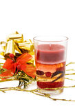Christmas festive red candle Royalty Free Stock Photo