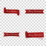 Christmas festive red Ribbons Collection. Vector Illustration Stock Photo