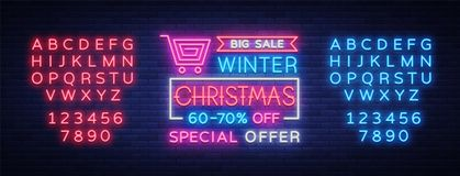 Christmas festive sale of a poster in a neon style.. Christmas festive sale of a poster in a neon style. Vector discount card, neon sign, bright banner Stock Photo