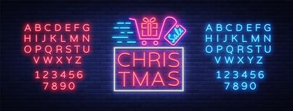 Christmas festive sale of a poster in a neon style. Vector discount card, neon sign, bright banner, luminous sign, night. Advertising, Xmas discount sale Stock Photos