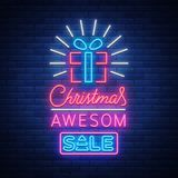Christmas festive sale of a poster in a neon style. Vector discount card, neon sign, bright banner, luminous sign, neon. Night advertising, Xmas discount sale Stock Photo