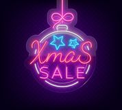 Christmas festive sale of a poster in a neon style. Vector discount card, neon sign, bright banner, luminous sign, neon. Night advertising, Xmas discount sale Royalty Free Stock Images