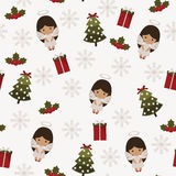 Christmas festive seamless pattern. With angels, Christmas tree, holly berries and gifts Stock Photo