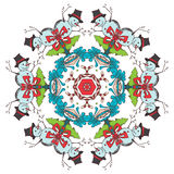 Christmas festive snowflake. Hand-drawn ornament of snowmen, Christmas trees, candy canes, gifts and bows Stock Photo