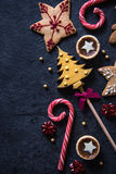 Christmas festive sweets food background. Christmas festive sweets food border background with copy space royalty free stock photos