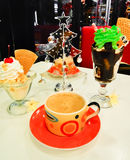 Christmas festive table with ice-cream Royalty Free Stock Image