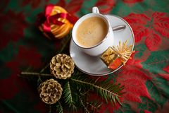 Christmas festive table ornament with a cup of coffe