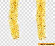 Christmas festive traditional decorations Two golden lush Christmas tinsels hanging in vertical position. Xmas Detailed wide ribbo. N garland isolated. Holiday Stock Photography
