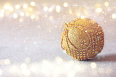 Christmas festive tree decoration with glitter overlay Royalty Free Stock Photography