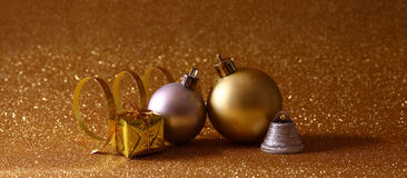 Christmas festive tree decorations with glitter background. Image of christmas festive tree decorations with glitter background Royalty Free Stock Photo