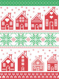 Christmas and festive winter pattern in cross stitch style with gingerbread house village including decorative elements. Seamless Scandinavian style and Nordic Stock Photography