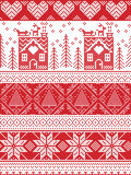 Christmas and festive winter seamless pattern in cross stitch with gingerbread house, Christmas tree, heart, reindeer , sleigh,. Scandinavian Printed Textile Stock Photography